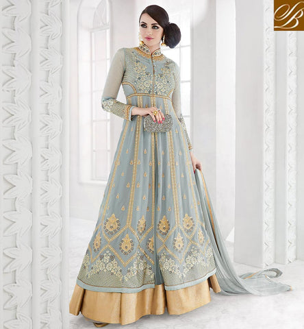 STYLISH BAZAAR Grey sapphire traditional wedding anarkali for women online shopping GLSPH7212