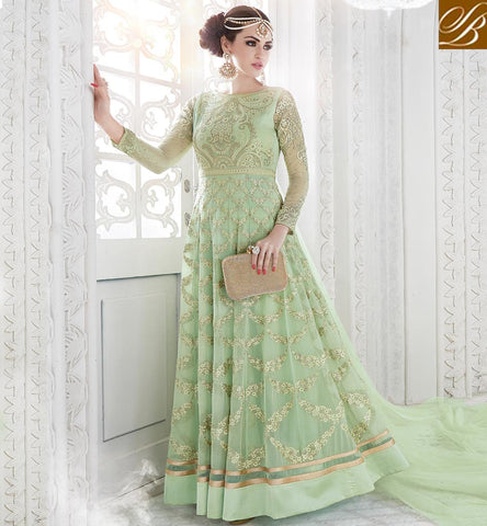 STYLISH BAZAAR Pista green heavy wedding anarkali latest eid clothes for women online GLSPH7214