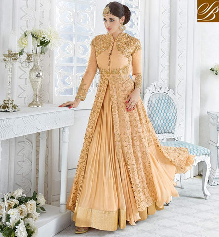 STYLISH BAZAAR Peach designer women long kameez ghaghra eid clothes latest collection GLSPH7215