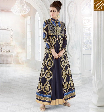 STYLISH BAZAAR Navy blue long kameez lenhenga Islamic dresses for EID and bridal event GLSPH7216