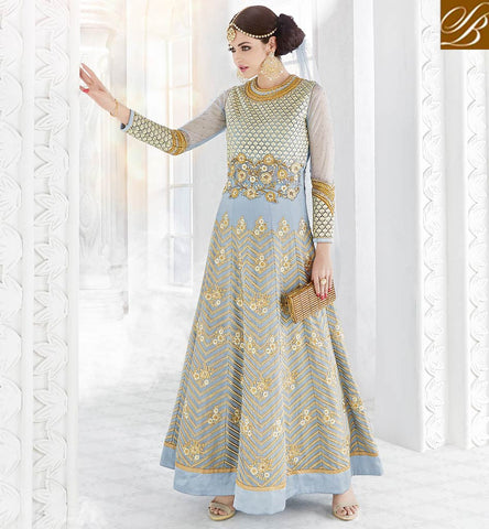STYLISH BAZAAR Blue fully embroidered Georgette wedding women and eid anarkali GLSPH7217