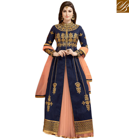 STYLISH BAZAAR NAVY BLUE GULAZR BANGLORI SILK HAVING EMBEDDED WORK WITH SLIT CUT NET LEHENGA STYLE SUIT GLZR1801