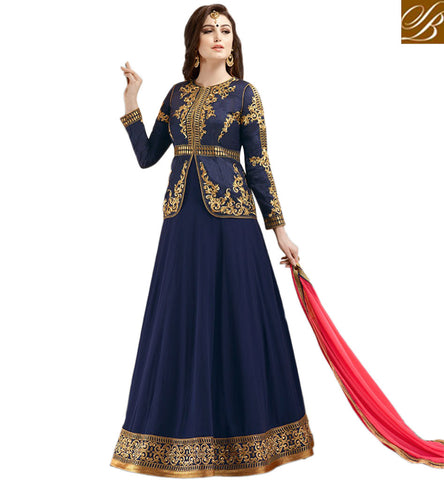 STYLISH BAZAAR ATTRACTIVE NAVY BLUE GEORGETTE PARTY WEAR ANARKALI SUIT WITH JACKET STYLE GLZR1803
