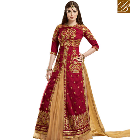STYLISH BAZAAR SHOP GULZAR RED BANGLORI SILK DESIGNER SLIT CUT TOP WITH BEIGE NET LEHENGA GLZR1804