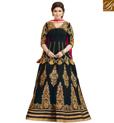 STYLISH BAZAAR INVITING BLACK EMBROIDERED GEORGETTE SHOWING PLEASANT LOOK WITH FLOOR LENGTH GOWN GLZR1805