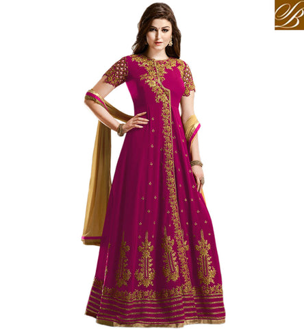 DAZZLING GULZAR WINE GEORGETTE HAVING PLEASANT LOOK WITH ANARKALI PARTY WEAR SUIT GLZR1806