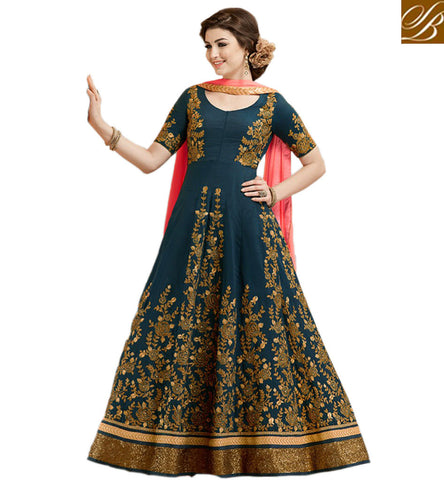 STYLISH BAZAAR BUY GULZAR BLUE GEORGETTE HAVING GOLD EMBROIDERY WITH DESIGNER ANARKALI SALWAR KAMEEZ GLZR1807