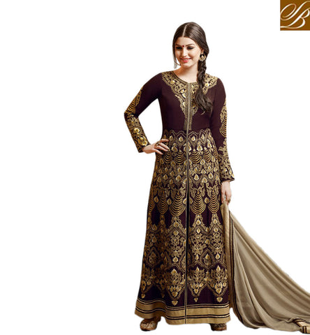STYLISH BAZAAR BEAUTIFUL GULZAR BROWN EMBROIDERED GEORGETTE HAVING SLIT CUT DESIGNER ANARKALI SUIT GLZR1808