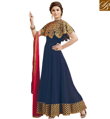 STYLISH BAZAAR STUNNING NAVY BLUE GEORGETTE PARTY WEAR ANARKALI SUIT HAVING PATCH WORK ON NECK GLZR1809