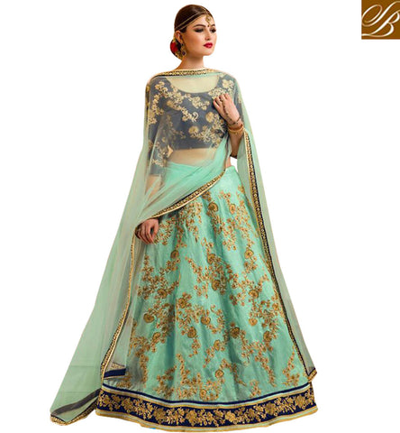 STYLISH BAZAAR SHOP STUNNING NEW BLUE SILK DESIGNER LEHENGA CHOLI BOLLYWOOD GHAGRA CHOLI DESIGNS COLLECTION WITH PRICE GLZRL13
