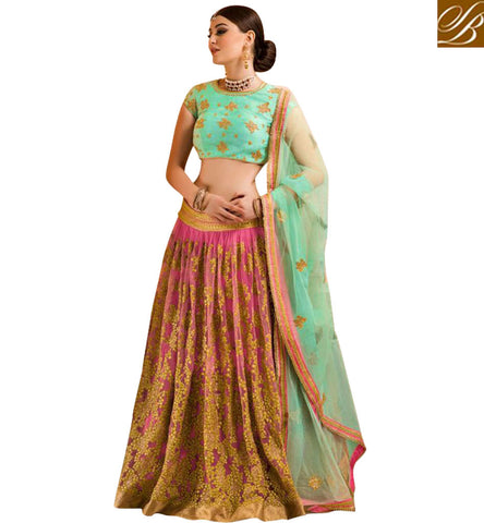 STYLISH BAZAAR HOT PINK AND SEA GREEN GHAGHRA CHOLI FOR GHAGRA SAREES FOR WOMEN IN INDIA ONLINE GLZRL14