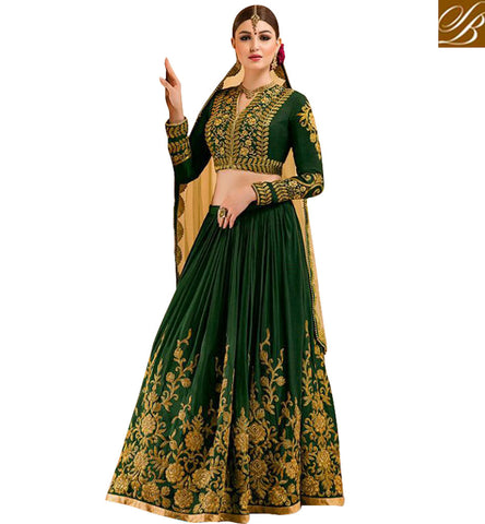 STYLISH BAZAAR STYLISH GREEN WEDDING LEHENGA SKIRT ONLINE EID SPECIAL DRESS AND INDIAN BRIDAL WEAR COLLECTION ONLINE GLZRL15