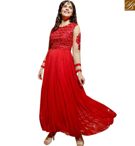 STYLISH BAZAAR WONDERFUL RED GEORGETTE DESIGNER GOWN WITH BEAUTIFUL EMBROIDERY MNJ45176