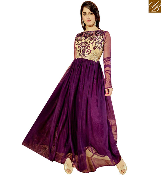 STYLISH BAZAAR ATTRACTIVE BEIGE AND PURPLE GEORGETTE DESIGNER GOWN HAVING EMBROIDERY ON CHEST MNJ45177