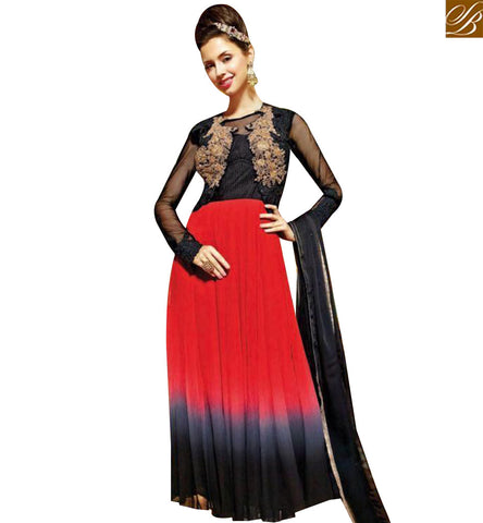 STYLISH BAZAAR RED GREY AND BLACK GEORGETTE DESIGNER GOWN HAVING PATCH WORK ON CHEST MNJ45180