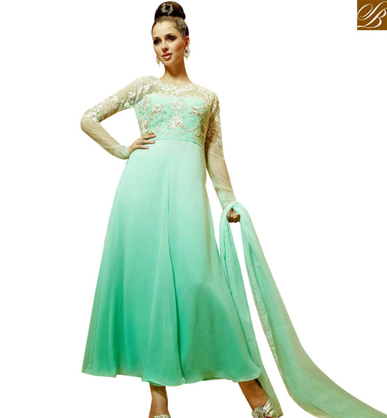 STYLISH BAZAAR GRACEFUL LIGHT GREEN NET GEORGETTE EMBROIDERED GOWN WITH FULL NET SLEEVES MNJ45181