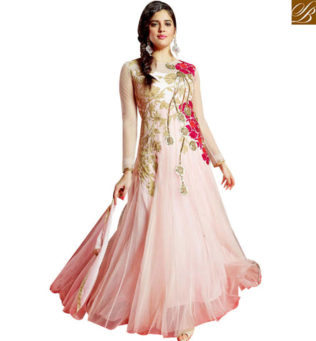 STYLISH BAZAAR GOOD LOOKING NET GEORGETTE DESIGNER GOWN CONTAIN WELL FLORAL EMBROIDERY MNJ45182