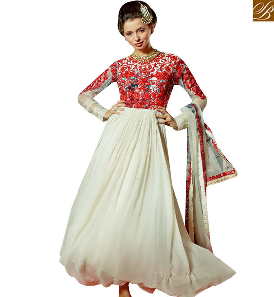 STYLISH BAZAAR DELIGHTFUL OFF WHITE GEORGETTE DESIGNER GOWN WITH ENCHANTING RED EMBROIDERY WORK MNJ45183