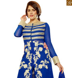 FROM THE HOUSE OF STYLISH BAZAAR BEWITCHING BLUE GEORGETTE ANARKALI SALWAR KAMEEZ HAVING WHITE EMBROIDERY MNJ45184