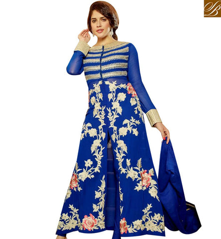 STYLISH BAZAAR BEWITCHING BLUE GEORGETTE ANARKALI SALWAR KAMEEZ HAVING WHITE EMBROIDERY MNJ45184