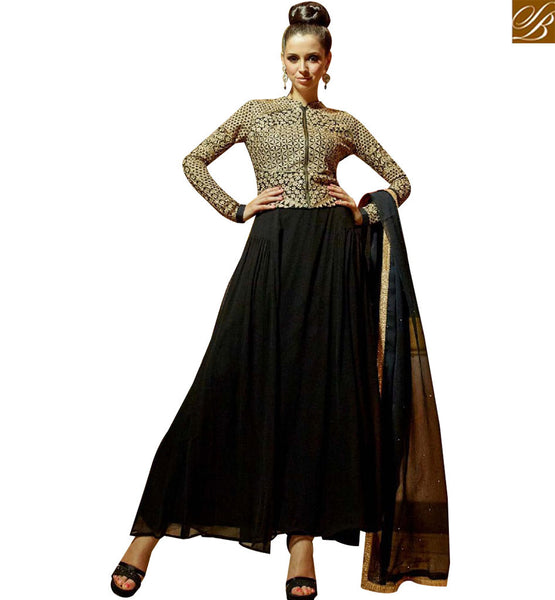 STYLISH BAZAAR AMAZING BLACK AND BEIGE GEORGETTE DESIGNER GOWN WITH JACKET STYLE MNJ45178
