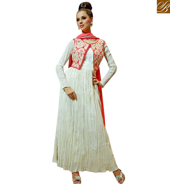 STYLISH BAZAAR ONLINE SHOPPING ELEGANT OFF WHITE GEORGETTE DESIGNER GOWN WITH JACKET STYLE MNJ45179