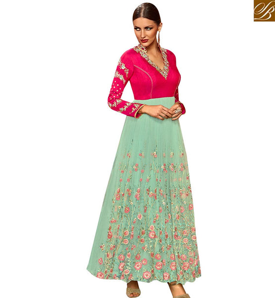 FROM THE HOUSE OF STYLISH BAZAAR SUPERB PINK SILK AND SEA GREEN GEORGETTE DESIGNER ANARKALI SALWAR KAMEEZ WITH GOWN STYLE SLETS178