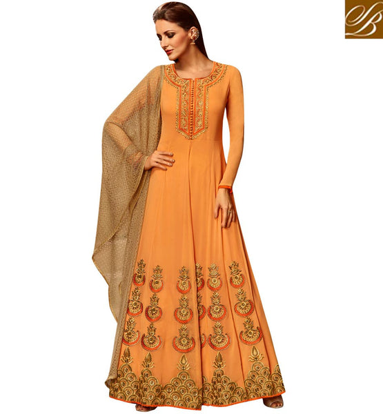 STYLISH BAZAAR DELIGHTFUL ORANGE GEORGETTE PARTY WEAR ANARKALI SALWAR KAMEEZ WITH BEAUTIFUL NET DUPATTA SLETS182