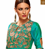STYLISH BAZAAR INTRODUCES DAZZLING GREEN SILK DESIGNER PARTY WEAR ANARKALI SUIT HAVING GOWN STYLE WITH LOVELY FLORAL EMBROIDERY SLETS183