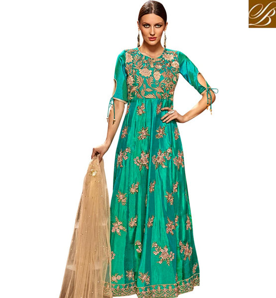 STYLISH BAZAAR DAZZLING GREEN SILK DESIGNER PARTY WEAR ANARKALI SUIT HAVING GOWN STYLE WITH LOVELY FLORAL EMBROIDERY SLETS183
