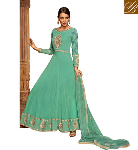 STYLISH BAZAAR BEAUTIFUL SEA GREEN GEORGETTE EMBROIDERED PARTY WEAR ANARKALI SALWAR KAMEEZ WITH GOWN STYLE SLETS187
