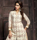 STYLISH NECK LINE AND COLLAR PATTERN PURE COTTON KAMEEZ OFF-WHITE SHERWANI STYLE DRESS WITH MATCHING SALWAR AND DUPATTA