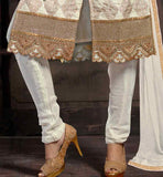OFF-WHITE SHERWANI STYLE DRESS WITH MATCHING SALWAR AND DUPATTA STYLISH INDIAN SALWAR SUITS DESIGNS FOR WOMEN