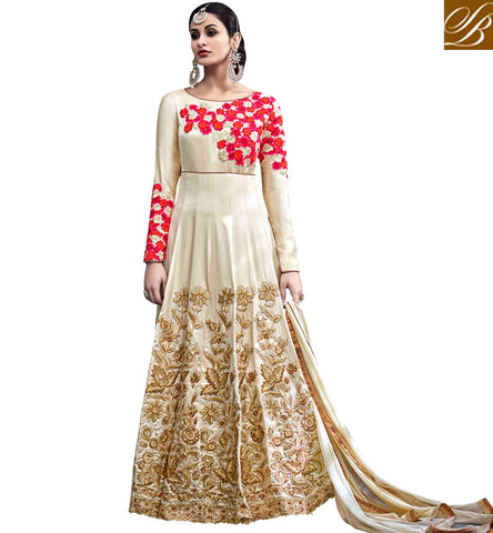 STYLISH BAZAAR Buy cream floral embroidered indo western gown online for US, UK women HOT6771