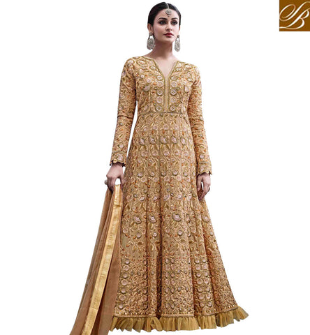 Shop Indo-western beige wedding anarkali gown style suit for women HOT6773