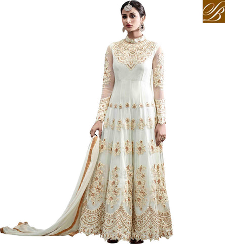 STYLISH BAZAAR Shop Cream high collar designer indo-western gown for wedding online HOT6775