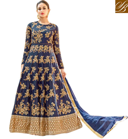STYLISH BAZAAR Blue hot lady floral embroidered designer party wear Anarkali online HOT7221
