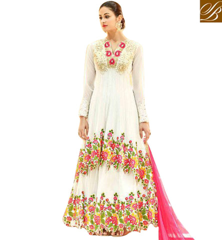Shop new v-neck party wear designer hot Anarkali lady salwar suit online HOT7222