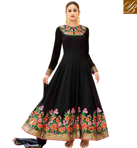 Buy new round neck bridal wear designer hot black Anarkali lady salwar HOT7223