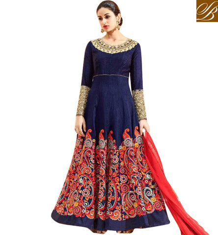 Buy latest dark blue Navratri special embellished hot Anarkali salwaar HOT7224