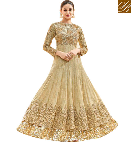 STYLISH BAZAAR Buy latest beige festive wear embellished designer hot Anarkali salwar HOT7225