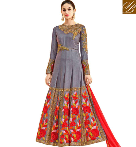 STYLISH BAZAAR Shop latest gray Rakshabandhan special embellished hot Anarkali salwar HOT7226