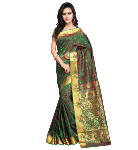 FROM THE HOUSE OF OUTSTANDING KANCHIPURAM ART SILK EXCLUSIVE PAITHANI THEME SAREE JB6102