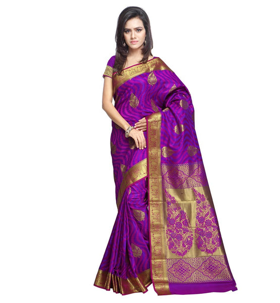 STYLISH BAZAAR SPECTACULAR KANJIVARAM SAREE EMBOSSED WITH FLORAL AND GEOMETRIC DESIGNS VWJB9102