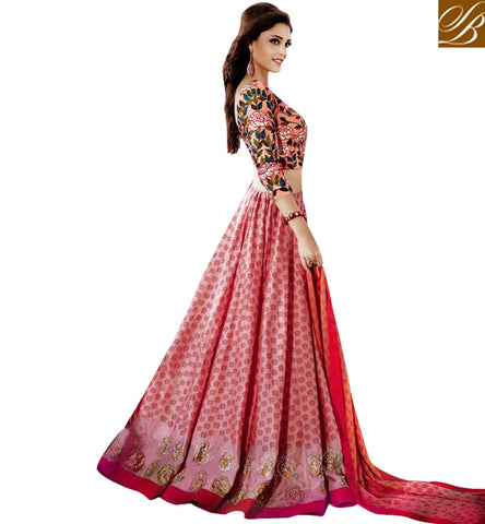 STYLISH BAZAAR BUY INDOWESTERN SHADES OF PEACH BRIDESMAID LEHENGA CHOLI LATEST SILK CHANIYA CHOLI FOR ONLINE SHOPPING JNFR1009