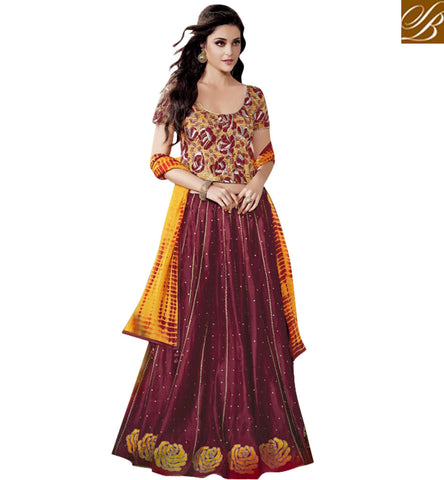 STYLISH BAZAAR SHOP BEAUTIFUL MAROON DESIGNER GHAGHRA CHOLI LATEST WOMENS WEDDING WEAR LONG CHOLI LEHENGA COLLECTION ONLINE JNFR1010