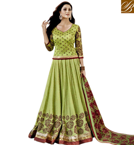 STYLISH BAZAAR EXPRESSIVE GREEN GHAGHRA WITH LONG CHOLI LATEST DESIGNER LEHENGA CHOLI FOR EID IN ONLINE SHOPPING JNFR1011
