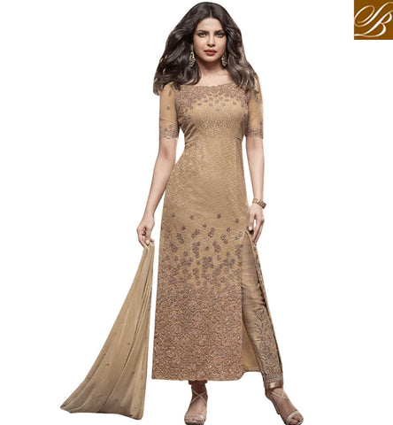STYLISH BAZAAR BEAUTIFUL BEIGE NET PRIYANKA CHOPRA PARTY WEAR ANARKALI SUIT WITH SLIT CUT STYLE JNHR5148