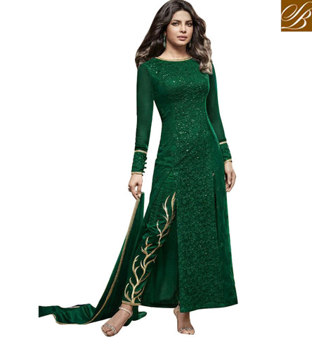 STYLISH BAZAAR BOLLYWOOD ACTRESS PRIYANKA CHAPRA GREEN GEORGETTE PARTY WEAR ANARKALI DESIGNER SUIT JNHR5149