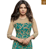FROM STYLISH BAZAAR SHOP SIZZLING GREEN GEORGETTE PRIYANKA CHOPRA STRAIGHT CUT EMBROIDERED SUIT JNHR5153